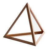 Empty wooden triangle frame on white Royalty Free Stock Photos