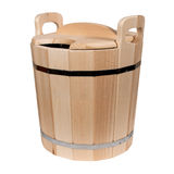 Empty wooden tub for a bath Stock Images