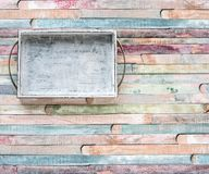 Empty Wooden vintage tray with metal handles on planks food background concept royalty free stock photos