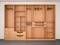 Empty Wooden Wardrobe Closet 3d Illustration Royalty Free Stock Images