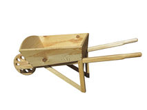 Empty wooden wheelbarrow cart for the garden isolated over white Royalty Free Stock Photo
