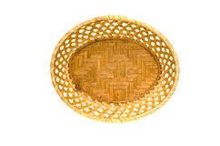Empty wooden wicker plate basket isolated on white Stock Image