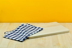 Empty wooden with yellow wall. ready for product display montage. Royalty Free Stock Photos