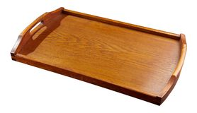 Empty woody tray. With white background Stock Image