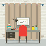 Empty Workplace Flat Design Stock Photography