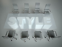 Empty workspace on glass PLAN table. Top view. High resolution render. Business concept Stock Photos