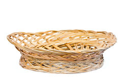 Empty woven wooden fruit or bread basket Stock Photography
