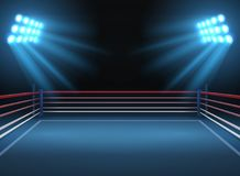 Free Empty Wrestling Sport Arena. Boxing Ring Dramatic Sports Vector Background Royalty Free Stock Photo - 113076685
