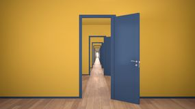 Free Empty Yellow And Blue Architectural Interior With Infinite Open Doors, Endless Corridor Of Doorway, Walkaway, Labyrinth. Move Stock Photography - 166612692