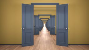 Free Empty Yellow And Blue Architectural Interior With Infinite Open Doors, Endless Corridor Of Doorway, Walkaway, Labyrinth. Move Royalty Free Stock Images - 166612719