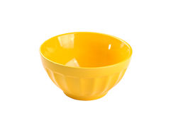 Empty yellow bowl, isolated on white background Stock Image