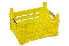 Empty yellow crate, isolated on white. royalty free stock images