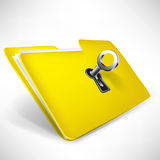Empty yellow folder with key Royalty Free Stock Photos