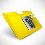 Empty yellow folder with key Royalty Free Stock Images