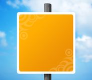 Empty Yellow Grunge Road Sign. Blank Road sign with embellishment in two corners Royalty Free Stock Photos
