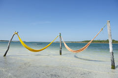 Empty Yellow Hammocks Tropical Beach Sea Brazil Stock Images