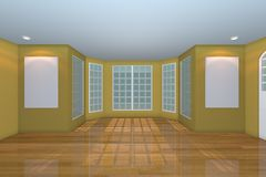 Empty Yellow Living Room Royalty Free Stock Photos