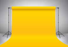 Empty yellow photo studio. Realistic vector  template mock up. Backdrop stand tripods with yellow paper backdrop. Stock Photo