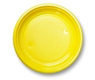 Empty yellow plate. Stock Photo