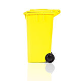 Empty yellow recycling bin Royalty Free Stock Images