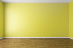 Empty yellow room with parquet floor. Empty room with yellow walls, dark brown hardwood parquet floor and soft skylight from window, simple minimalist interior Royalty Free Stock Photo