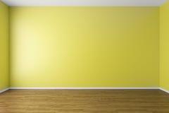Empty yellow room with parquet floor Royalty Free Stock Photo