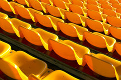 Empty yellow seats at sports stadium Royalty Free Stock Image