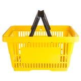 Empty yellow shopping basket Stock Image