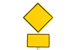 Empty yellow traffic road sign Stock Image