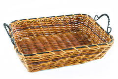Empty yellow wicker tray Royalty Free Stock Image