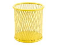 Empty iron trash bin isolated on white Royalty Free Stock Image