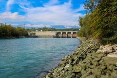 Emptying the dam Verbois Royalty Free Stock Images