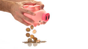 Emptying a piggy bank with euro`s Royalty Free Stock Image