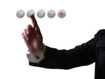 Empujar el botón manualmente Imagen de archivo