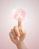 Empujar el botón rosado de la cinta manualmente Fotografía de archivo libre de regalías