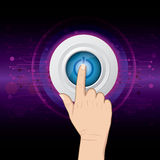 Empujar el botón de la potencia manualmente Foto de archivo libre de regalías