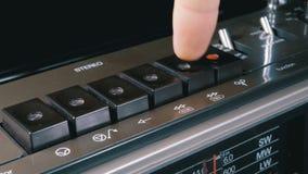 Empujar el juego, parada, rec, FF, botones del rew en una grabadora almacen de metraje de vídeo