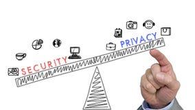 Empujar privacidad manualmente sobre concep de la seguridad fotos de archivo