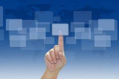 Empujar un botón manualmente Imagen de archivo libre de regalías