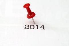 Empuje el texto del perno 2014 Imágenes de archivo libres de regalías