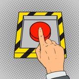 Empuje el vector del arte pop manualmente del botón rojo Imagen de archivo