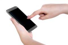Empuje móvil del finger de la mano del smartphone y fondo blanco Imagenes de archivo