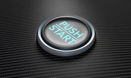 Empuje para encender el botón de la fibra de carbono Fotos de archivo libres de regalías