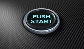 Empuje para encender el botón de la fibra de carbono Imagen de archivo