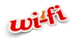 Empuje Pin y el Wi-Fi (la trayectoria de recortes incluida) Imágenes de archivo libres de regalías