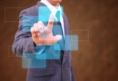 Empurrando o botão em uma relação do tela táctil fotos de stock royalty free