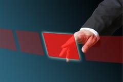 Empurrando o botão vermelho Foto de Stock