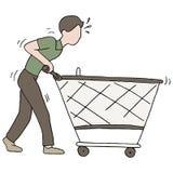 Empurrando o carrinho de compras quebrado Foto de Stock