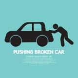 Empurrando o símbolo gráfico quebrado do carro Fotografia de Stock