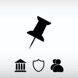 Empurre o ícone do pino, ilustração do vetor Estilo liso do projeto Fotografia de Stock Royalty Free